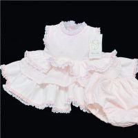 *Baby Girl Spanish Pink Waffle Puff Ball Dress Pants Set